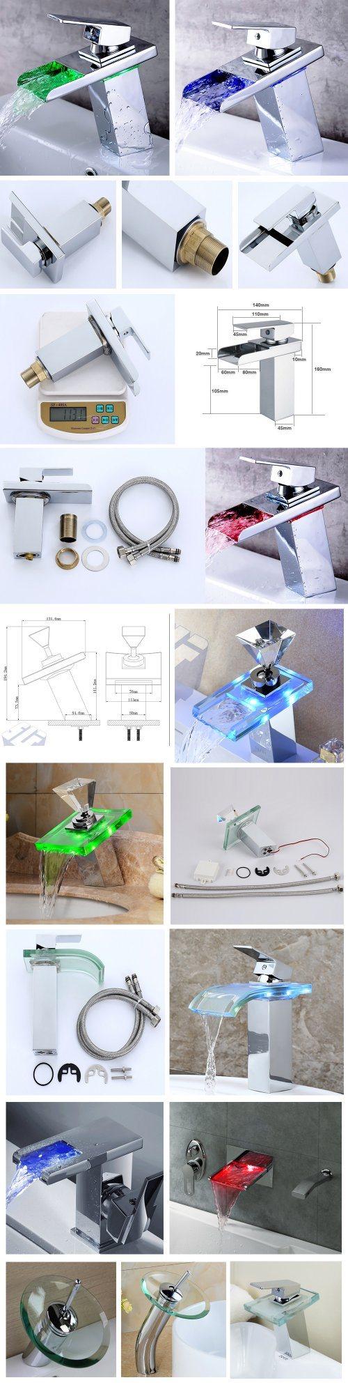 Fancy Design Chrome LED Light Copper Bathroom Shower Basin Faucet