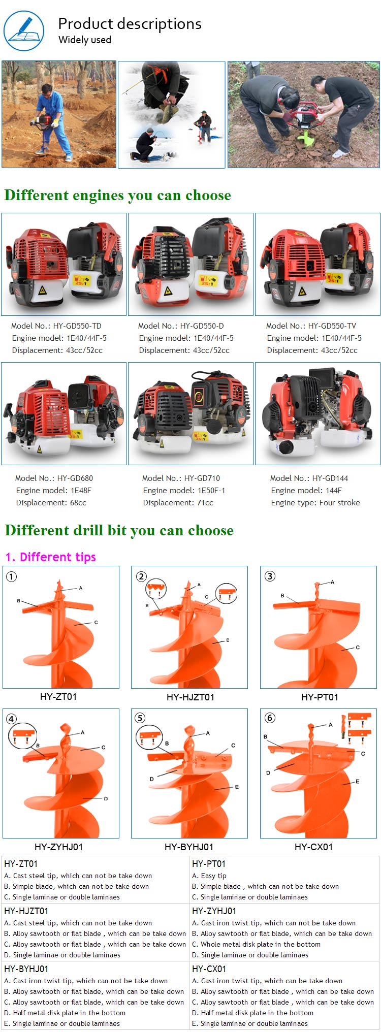 Double Person Operate Four Stroke Ground Drill for Digging Hole