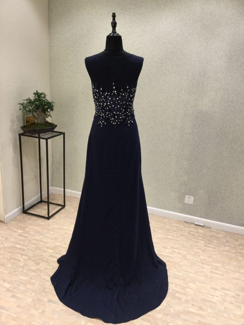 Dark Blue Satin Beading Mermaid Evening Dress