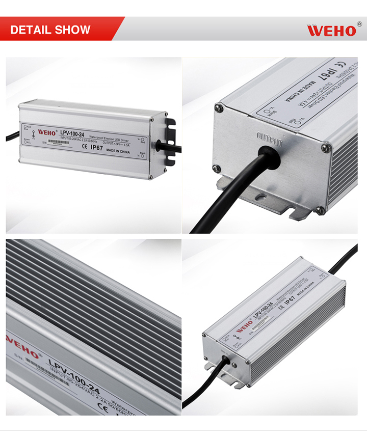 IP67 Waterproof 100W 24V Switching LED Power Supply