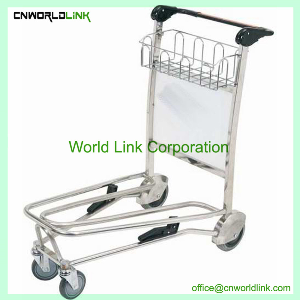 Stainless Steel Airport Hand Luggage Trolley Cart Passenger Hand Cart