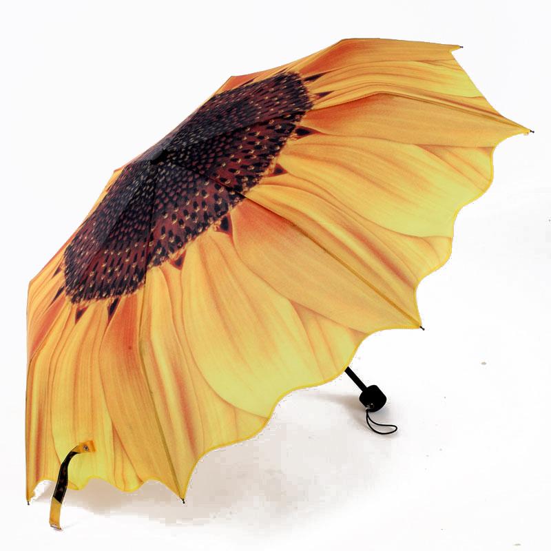 OEM Map Sunflower Folding Umbrella with Logo