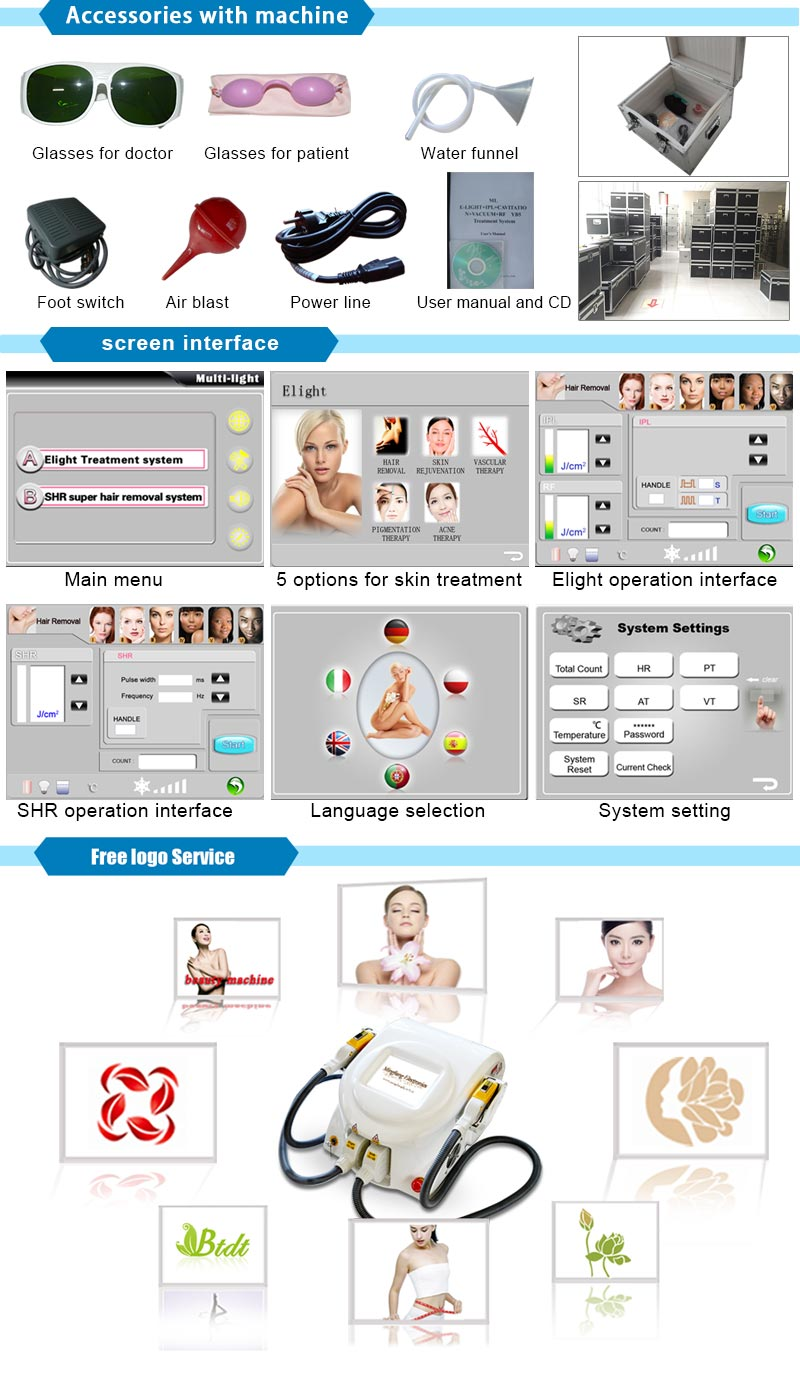Super Beauty Elight Shr Hair Removal Machine with 4 Electronic Capacitors