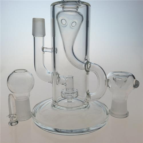 Two Functions Recycle Glass Water Smoking Pipes with Showerhead (ES-GB-423)