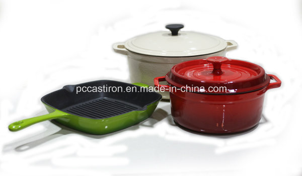 3PCS Enamel Cast Iron Cookware Set FDA Approved Factory