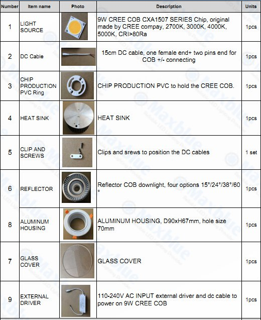 Embedded COB Recessed Ceiling LED Downlight China Manufacturer Down Light