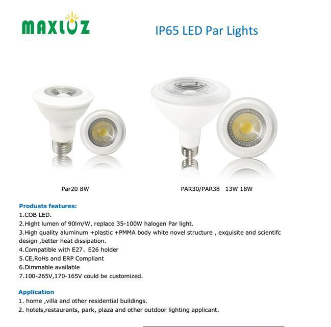 PAR20 PAR30 PAR38 COB LED PAR Lights Dimmable