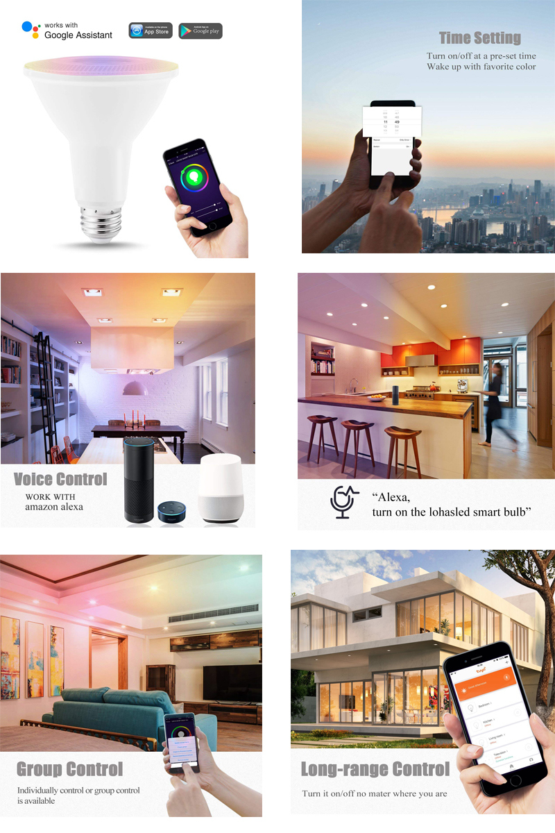RGB+W WiFi Smart LED Bulb PAR30 12W LED PAR Light Smart Home Lighting