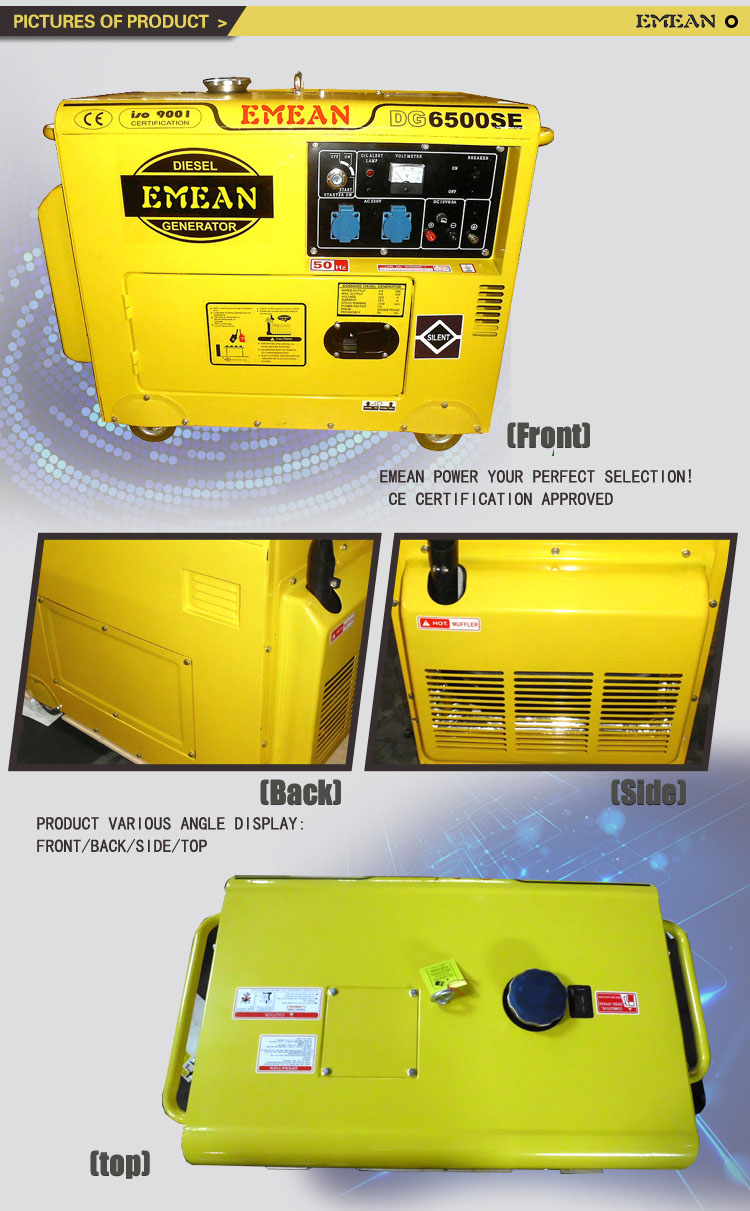 China Supplier 5kw Silent Diesel Generator 6000se with Diesel Driven