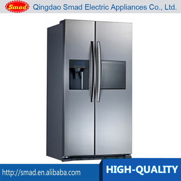 Commercial Side by Side Refrigerator Freezer with Icemaker, Water Dispenser & Mini Bar
