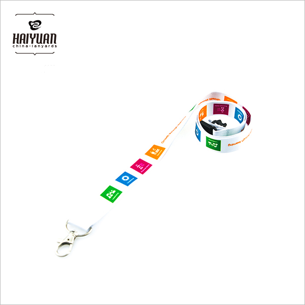 Four Colors Heat Transfer Printing Lanyard with Metal Clip