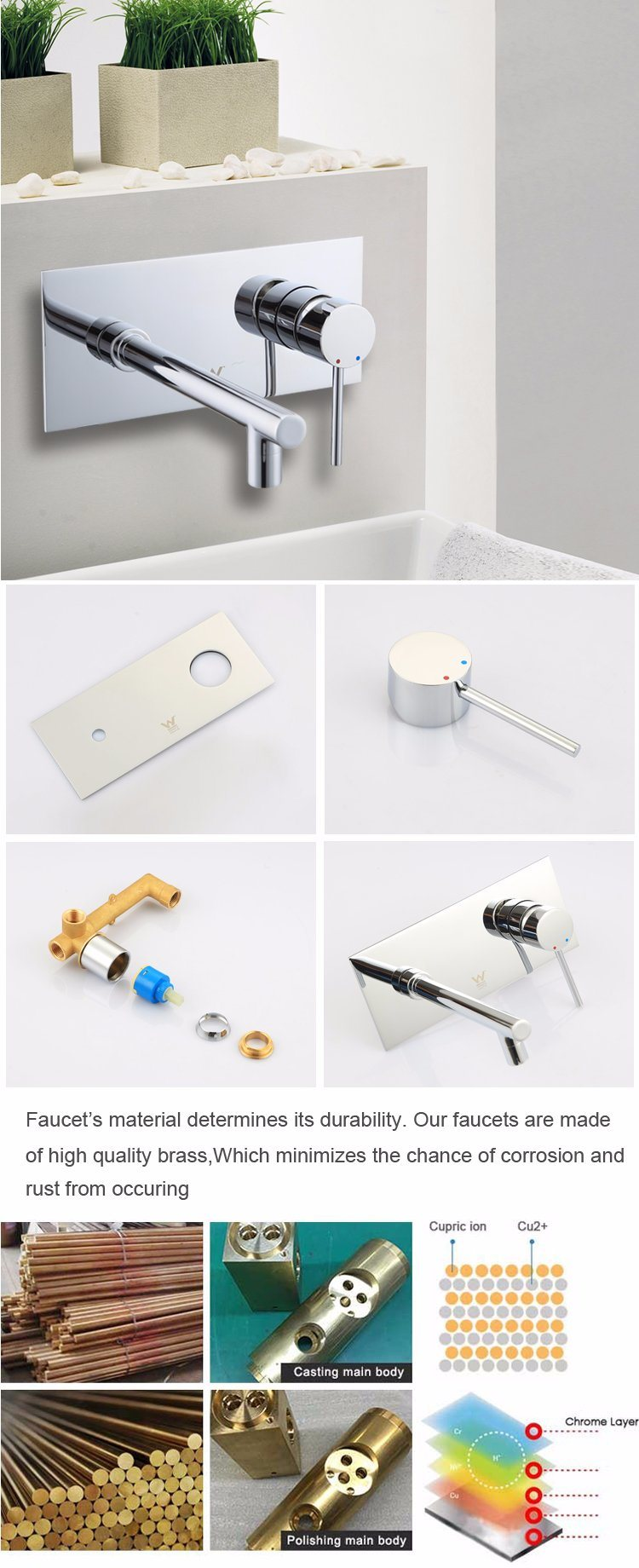 China Manufacturer in Wall Concealed Mixer Tap Basin Water Faucets for Bathroom