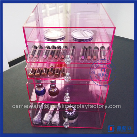 China Factory Handmade Acrylic 4 Makeup Drawers / Acrylic Makeup Organizer with Drawers
