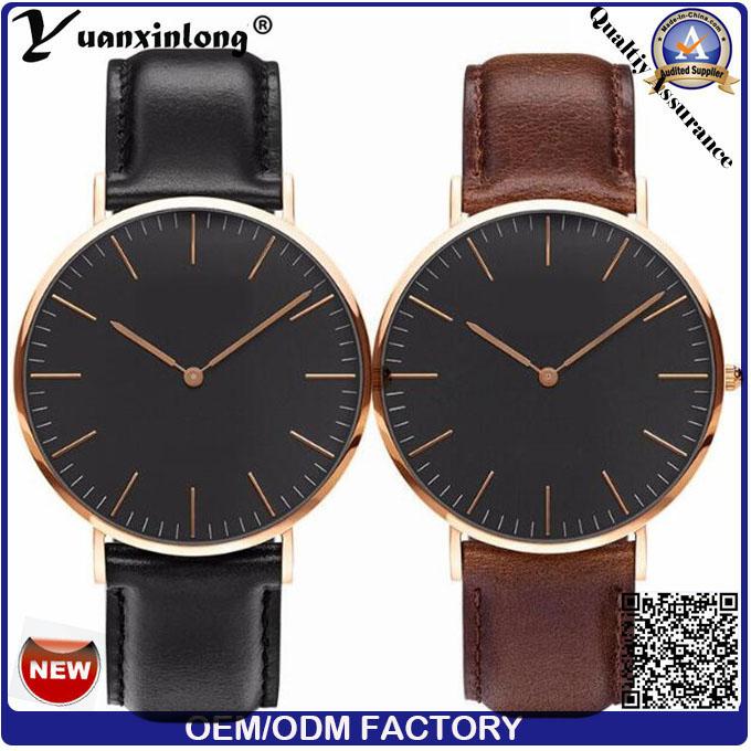 Yxl-007 2016 Fashion Men's Watch Genuine Leather Stainless Steel Dw Model Black Face Quartz Watch