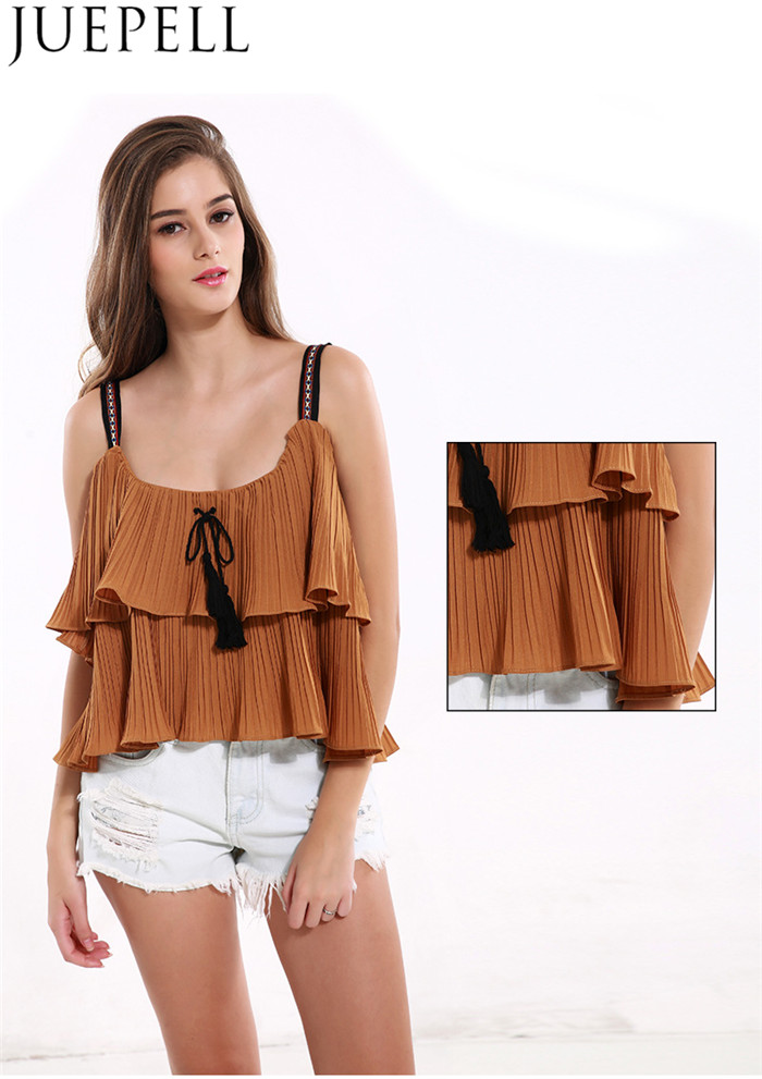 European and American Women New Summer Solid Color Top Laminated Flounced Fold Bandage Strapless Harness Small Shirt Women Vest Blouse