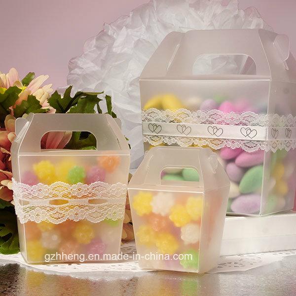 High quality plastic gift box with handle (PVC handle box)