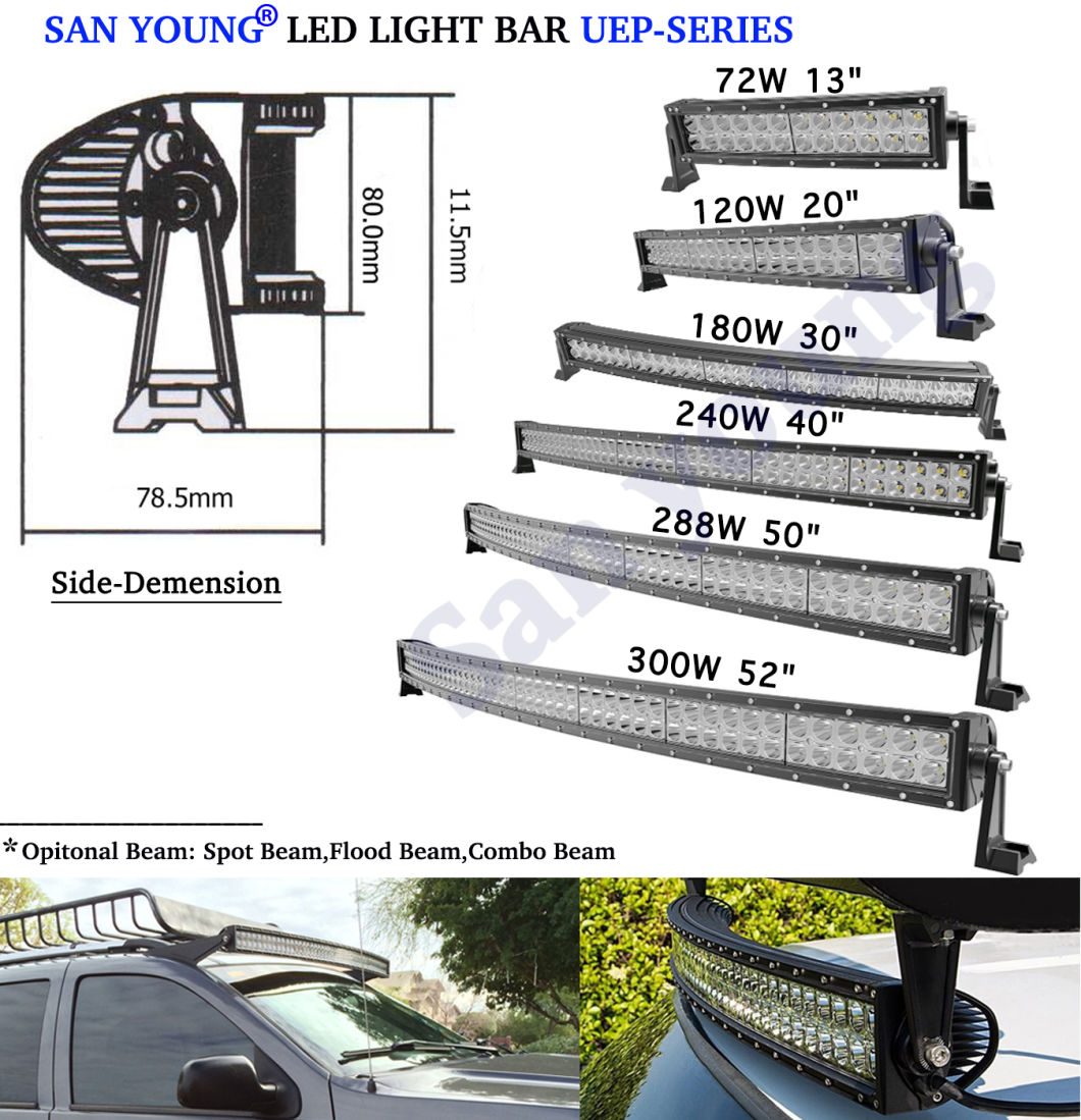 Curved LED Light Bar CREE 72W 120W 180W 240W 288W 300W Spot Flood Combo Offroad LED Bar LED Driving Light IP68