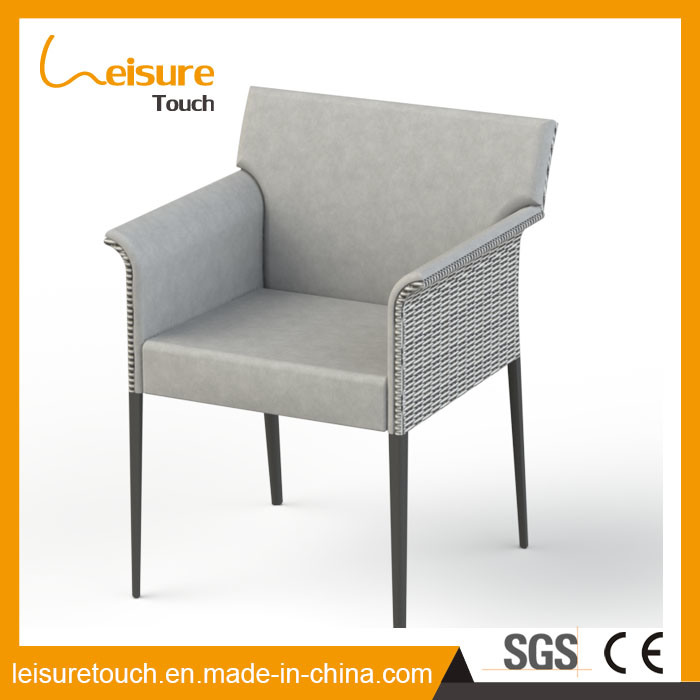 High Quality Patio PU Leather and Rattan Dining Chair Leisure Garden Outdoor Furniture