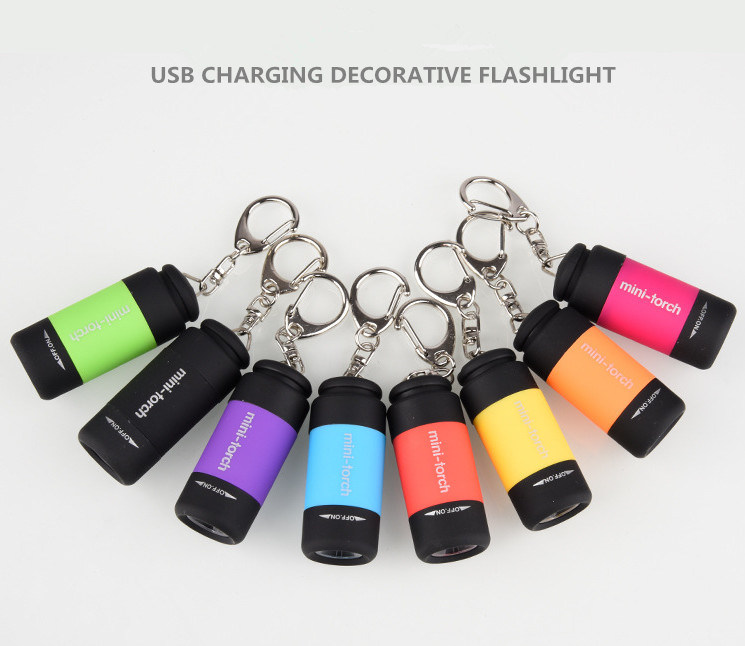 USB Rechargeable LED Torch Light with Keychain Mini LED
