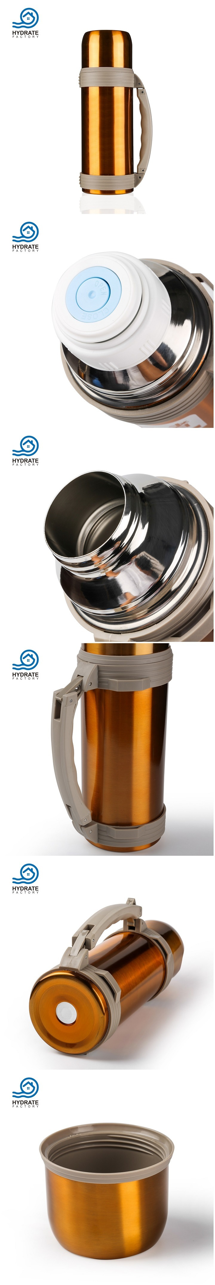 Travel Stainless Steel Vacuum Insulation Water Bottle with Cup&Handle