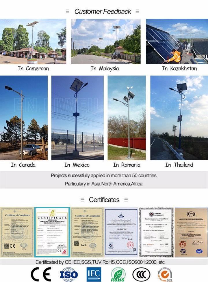 70W 80W 8m Solar Power Energy Street Light Pole Arm
