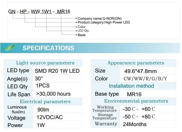LED Spotlight Bulb (GN-HP-WW1W1-MR16)