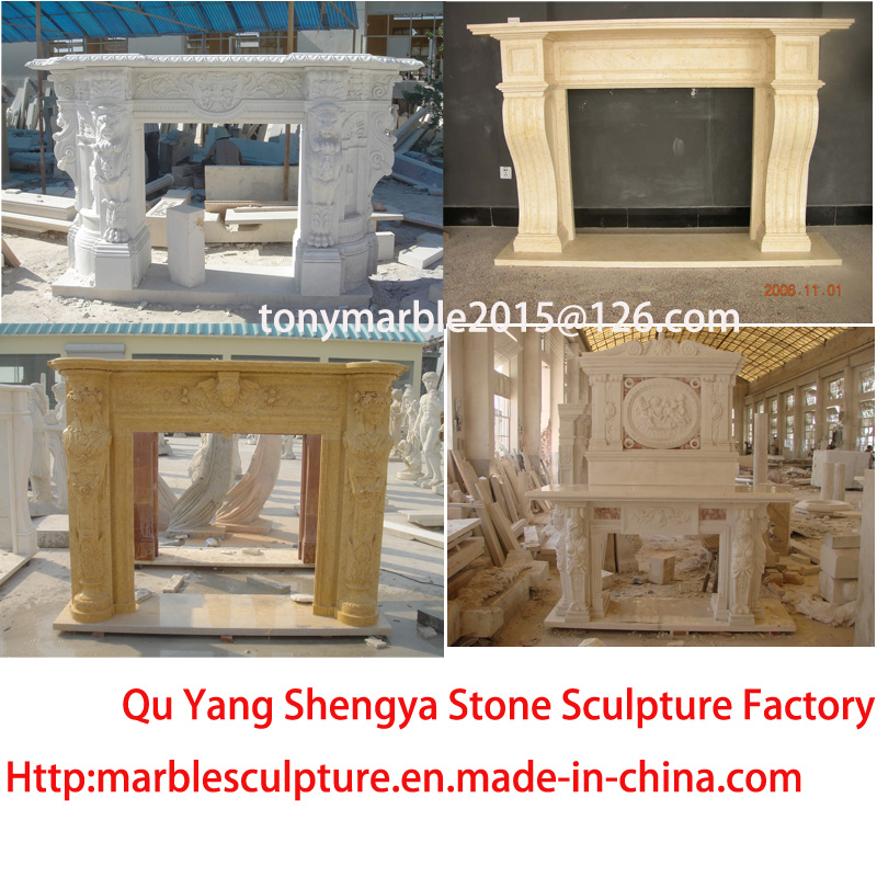 European Style Double Marble Fireplace Carved Figures (SY-MF206)