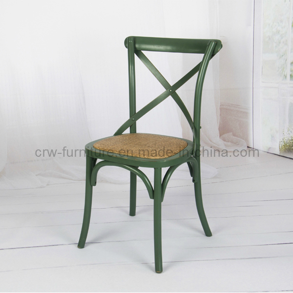 French Style Rattan and Wooden Oak Cross Back Chair