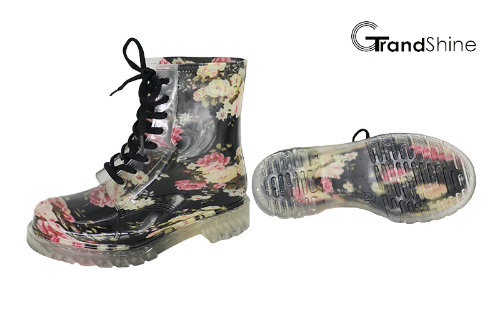 Women's Garden Floral Lace up PVC Rain Boot