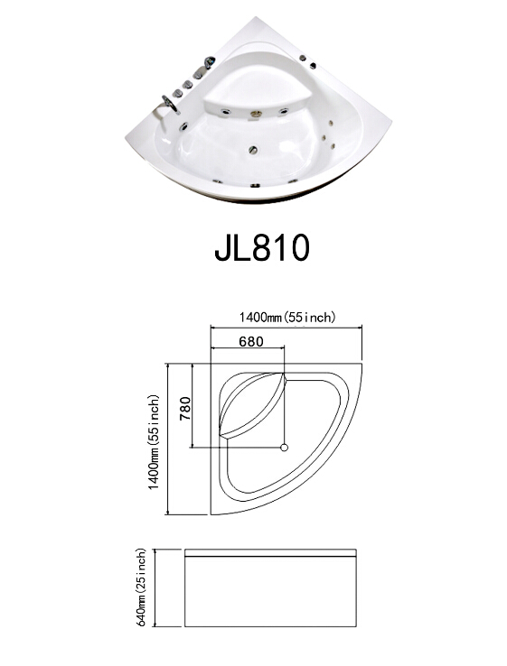 2014 New Design Acrylic Indoor Jacuzzi Massage Bathtub (JL810)