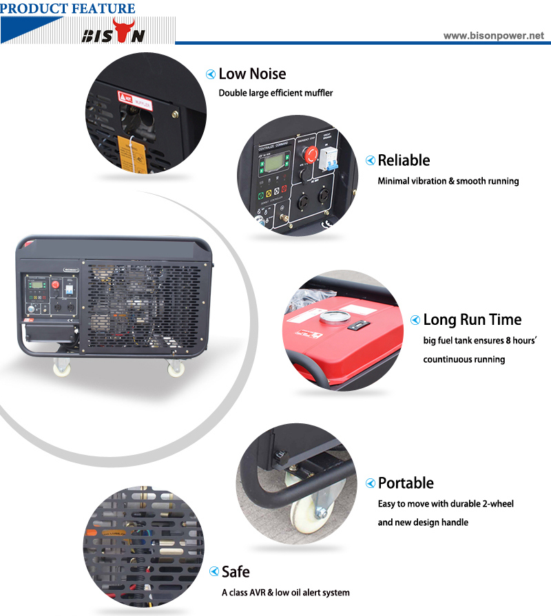 Bison (China) BS15000dce (H) 11kw 11kVA Long Run Time Reliable Diesel Generator Price in Brazil for Sale