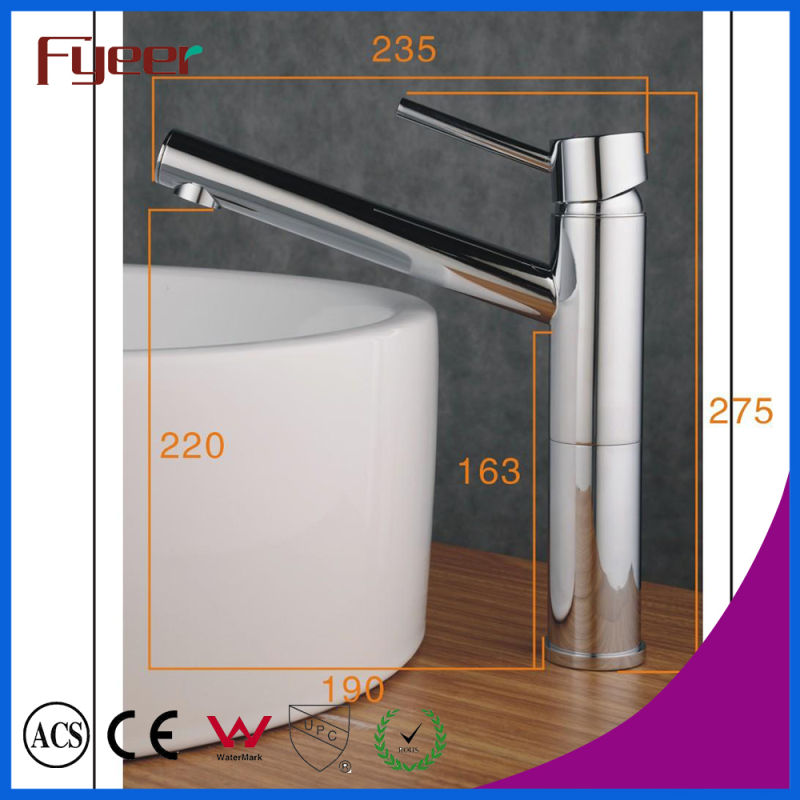 Fyeer Chrome Long Spout Single Handle Brass Bathroom Wash Basin Faucet Hot&Cold Water Mixer Tap Wasserhahn