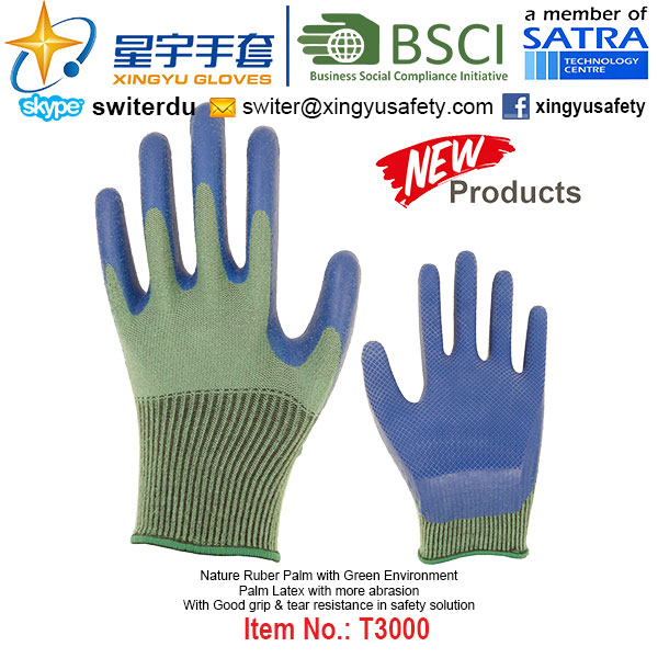(Patent Products) Latex Coated Green Environment Gloves T2000