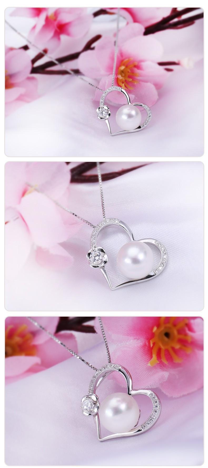 10-11mm Semi Round AAA Freshwater Heart Shape Jewelry Pearl Pendant