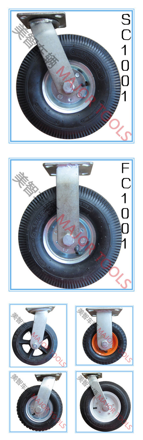 10 Inch High Quality Pneumatic Swivel Caster Rubber Wheels