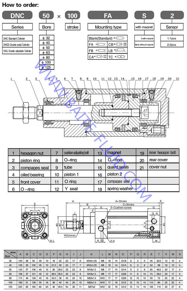 DNC Festo Pneumatic Cylinder Air Cylinder Telescopic Pneumatic Cylinder