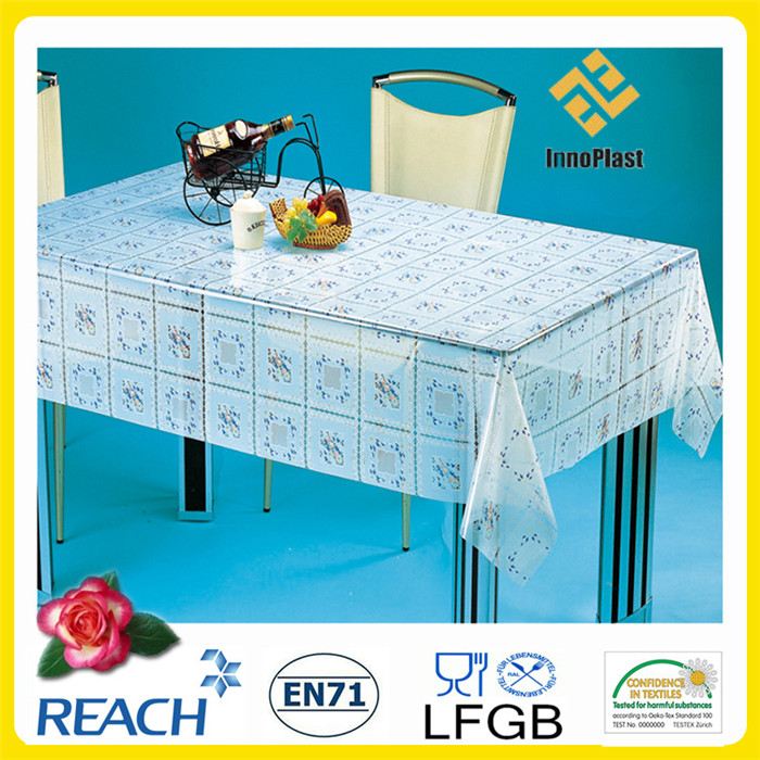 PVC Printed Transparent Tablecloth / Table Linen in Roll