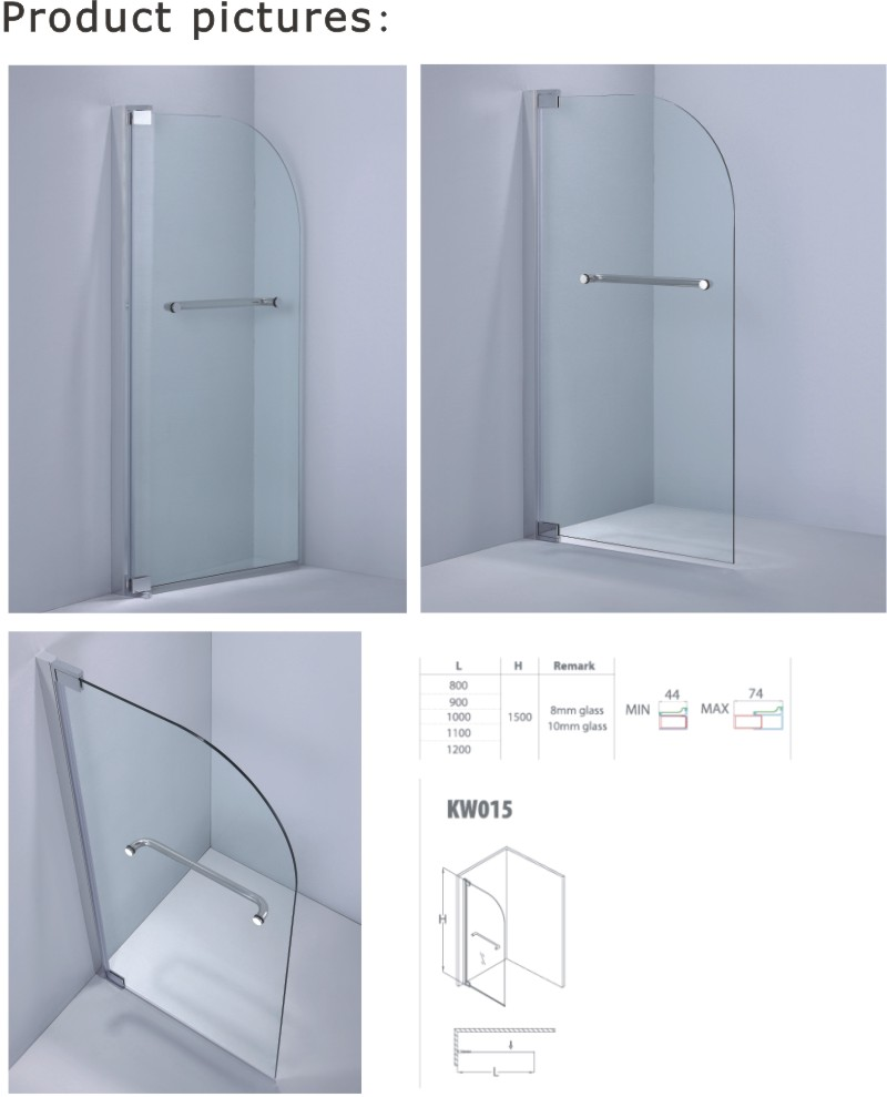 Curved Corner Bathtub Screen / Rounded Edges Shower Screen (KW015)