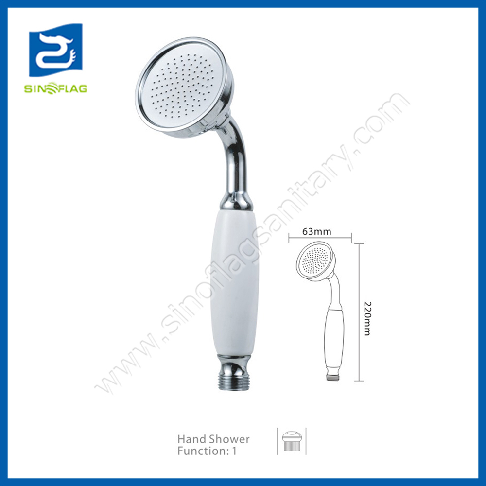 Brass Bath Hand Shower with White Handle