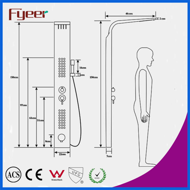 Fyeer Factory Price Cheap Rainfall Stainless Steel Shower Panel