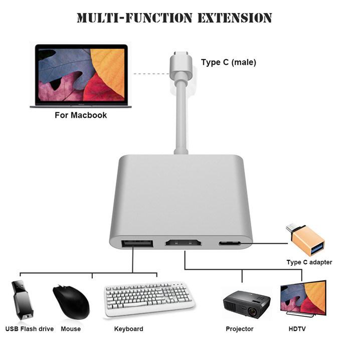 3 in 1 USB Type C USB-C to USB3.0 Pd HD Multi Hub for Nintendo Switch