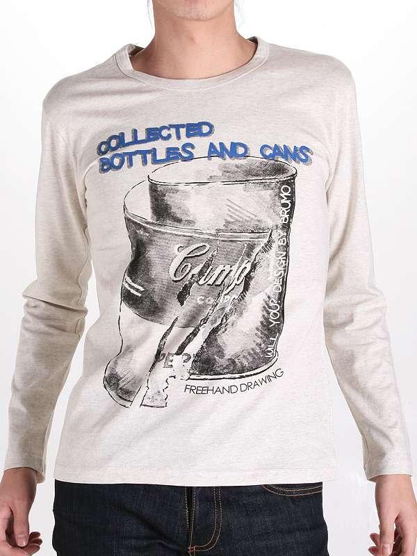 Men Long Sleeve Cotton Screen Printing Custom Fashion Tshirt
