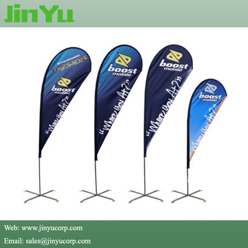 Custom Flex Teardrop Banner Feather Shape Beach Flag Pole