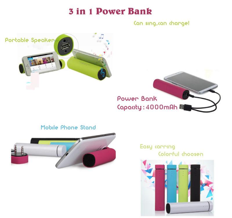 Multi-Function Power Bank, Speaker+Mobile Holder +Power Bank 3 in 1