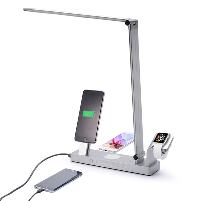 Smart LED Lamp USB 3.1 Type-C Charger Mobile Phone USB Charging Dock Qi Wireless Charger