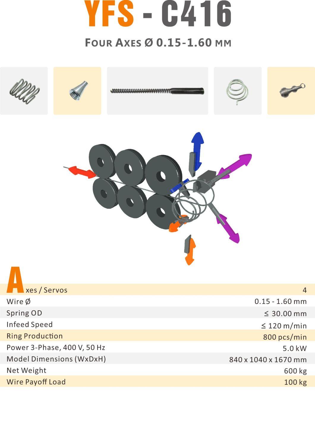 YFSpring Coilers C416 - Multi Servos Wire Diameter 0.15 - 1.60 mm - Compression Spring Coiler