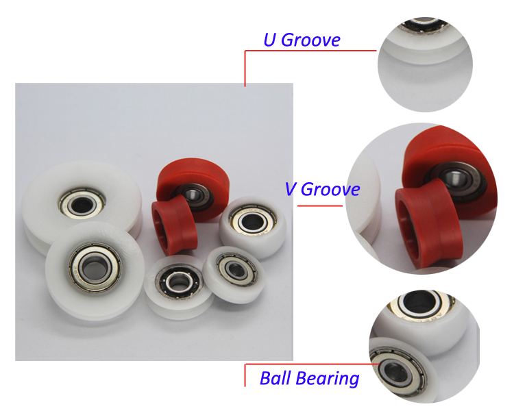 Plastic Rubber Coated Steel Deep Groove Ball Bearings for Sliding Door
