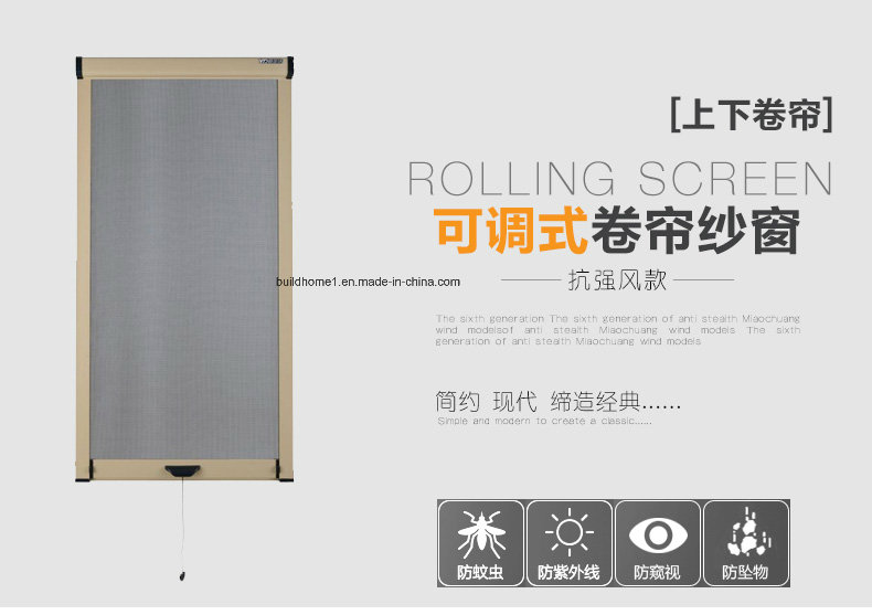 Slowly Slide up and Down Wind Proof Retractable Rolling Insect Screens