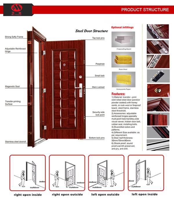 House Doors Powder Coated Steel Safety Main Exterior Door