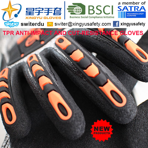 Cut-Resistance and Anti-Impact TPR Gloves, 15g Hppe Shell Cut-Level 3, Sandy Nitrile Palm Coated, Anti-Impact TPR on Back Mechanic Gloves